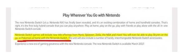 Gamestop确认精灵宝可梦存任天堂Switch版本