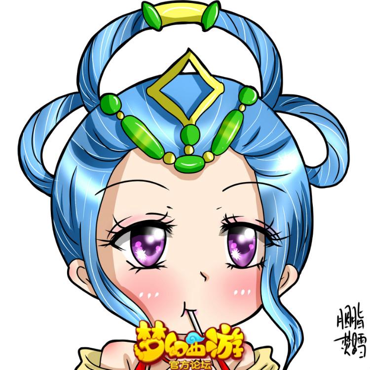 梦幻手游手绘头像 舞天姬吃棒棒糖