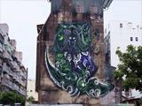 巨幅伊利丹涂鸦亮相台中 与巫妖王雕像相对而立