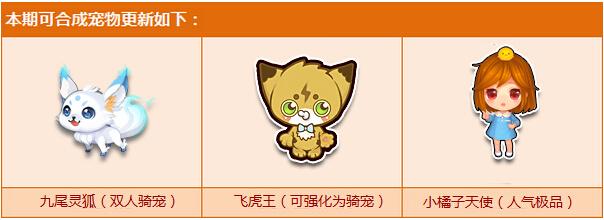 宠物合成系统奖励更新,九尾灵狐等你来!