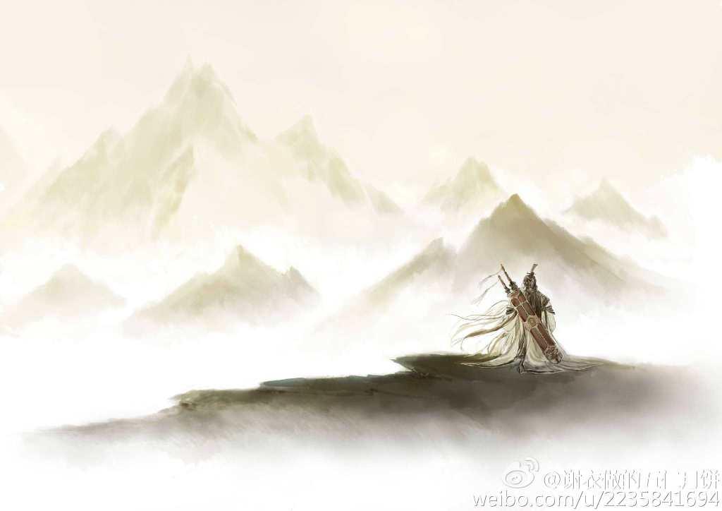 水墨手绘原创作品 道长襄州看元卷云舒_天刀同人_天涯