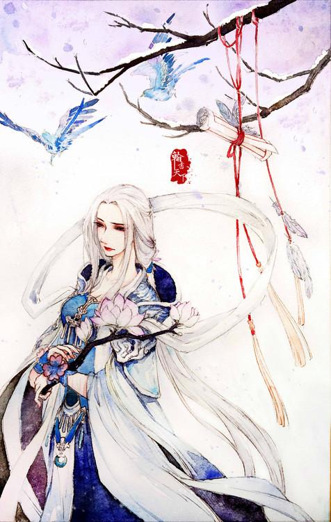 同人绘画:水彩手绘灵山十巫之巫姑