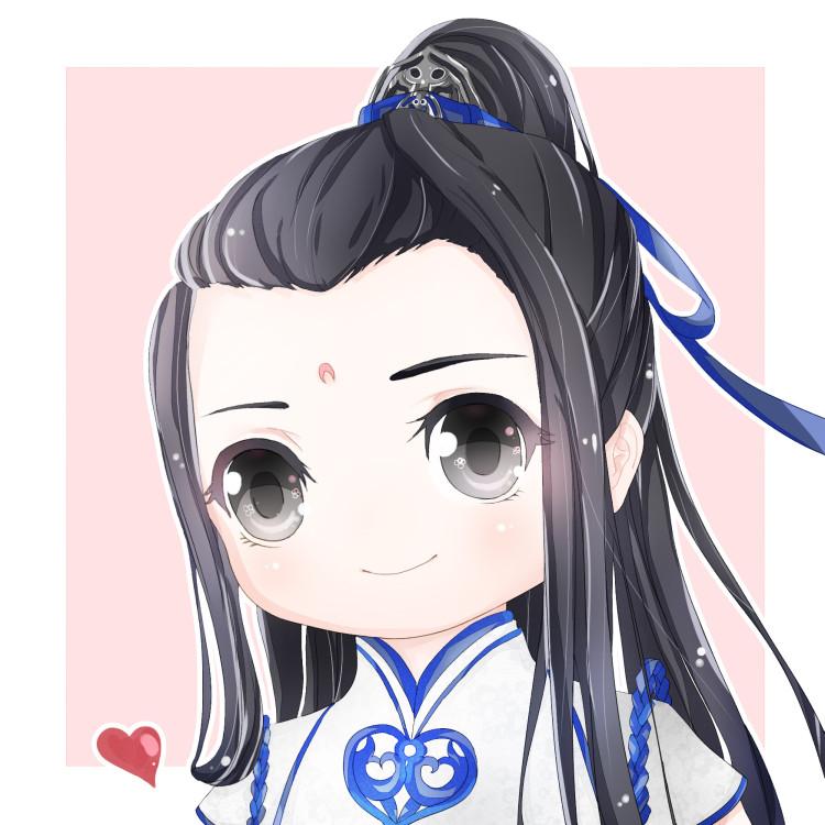 天刀q版手绘情侣头像一对 蓝色抱春风
