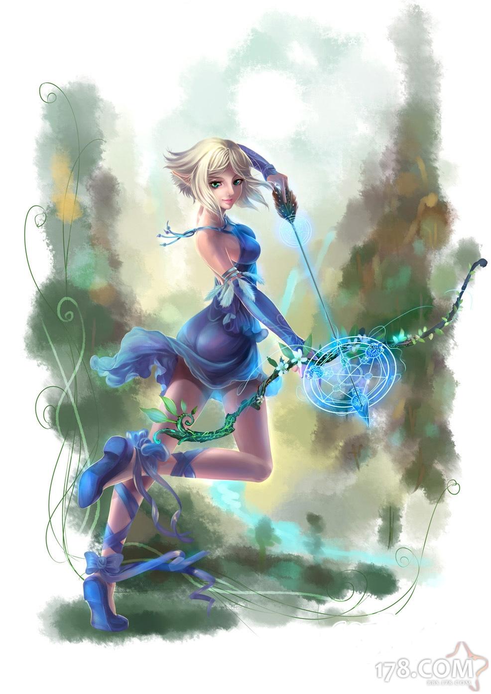 文 章 摘 要       上古世纪玩家原创手绘作品 女精灵弓箭手     手机