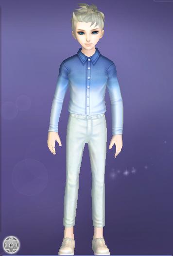 炫舞男生服饰搭配 渐变蓝色牛仔衬衫