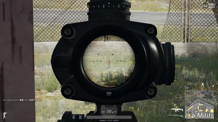 四倍镜800m,八倍镜则是1000m 使用红点或者全息瞄准镜时则无法调节