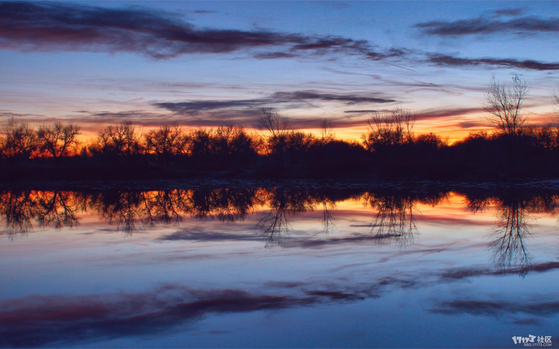 蓝色日落唯美风景