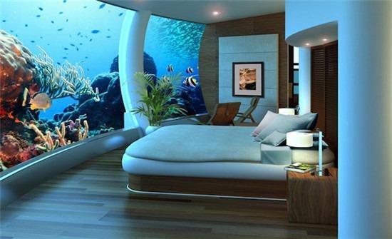 该酒店包括21间套房,分布在水上水下的两个圆盘建筑里.