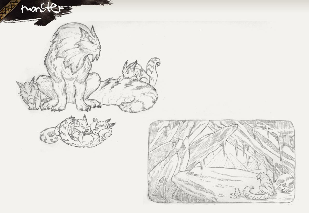 《怪物猎人》新怪物黑白线稿原画!