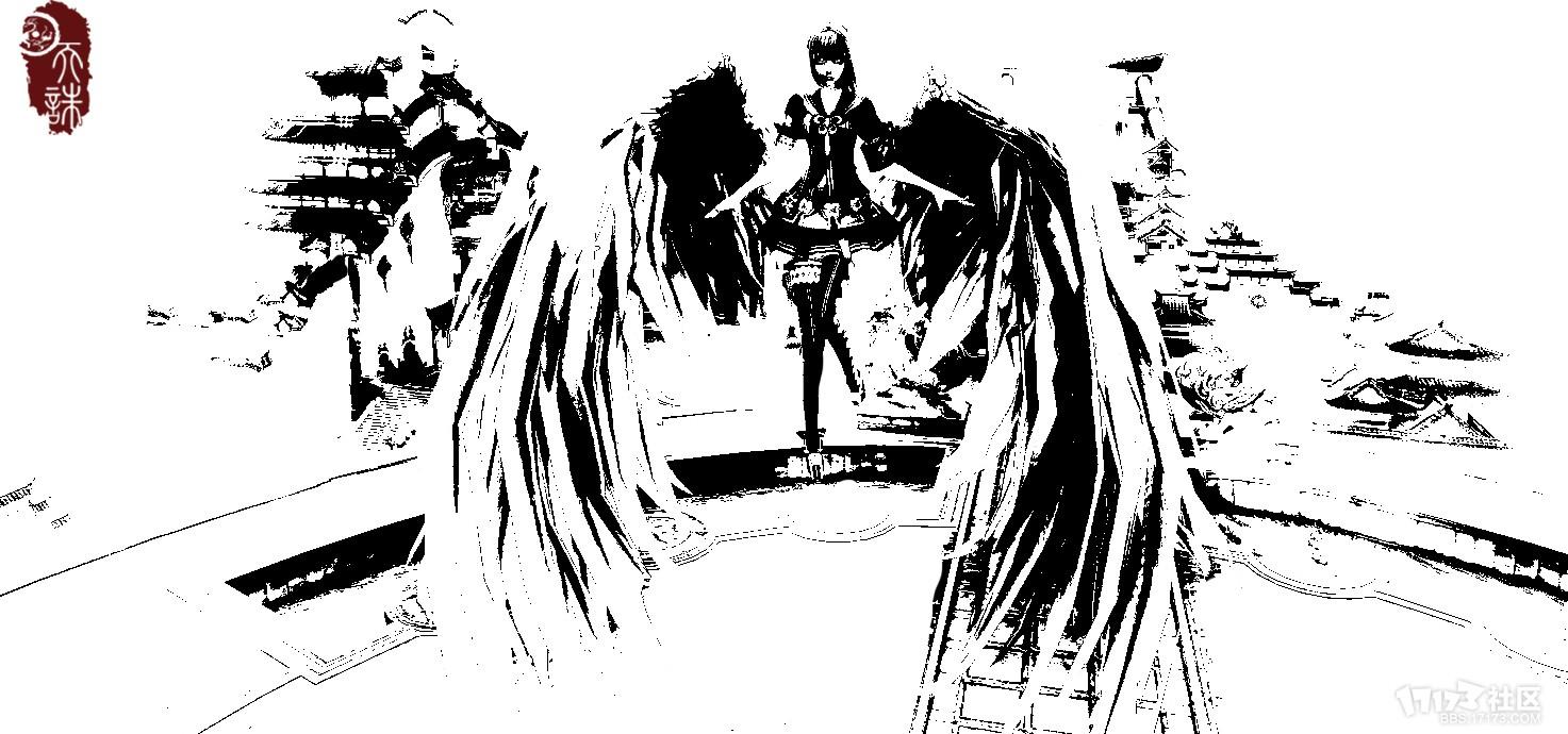 【天诛网游公会】天谕原创黑白风格手绘——tz丶点墨成画